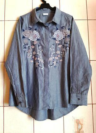 Трендовая рубашка в полоску с вышивкой из цветов от infinity woman