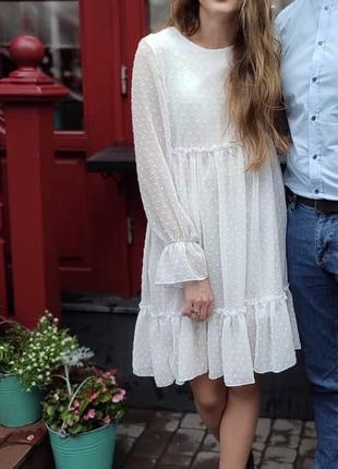 Легкое красивое платье сукня в горошек шифон