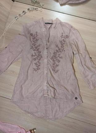 Льняная блузка, рубашка с вышивкой, лён