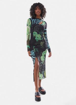 Платье из сетчатой ткани с принтом «дракон»