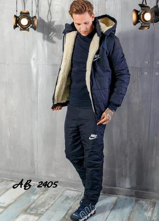 Зимний мужской костюм  на овчине и синтепоне куртка и штаны плащевка синий  лыжный