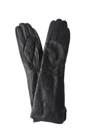 Удлиненные перчатки черные женские кожаные