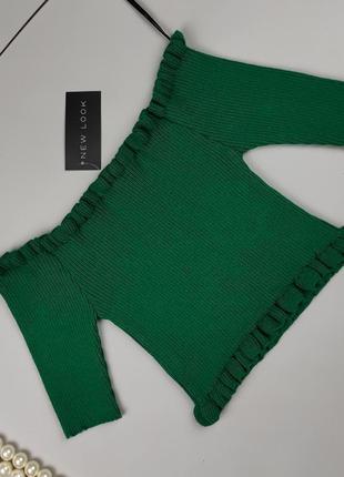 Блуза топ новая стильная зеленая в рубчик new look l