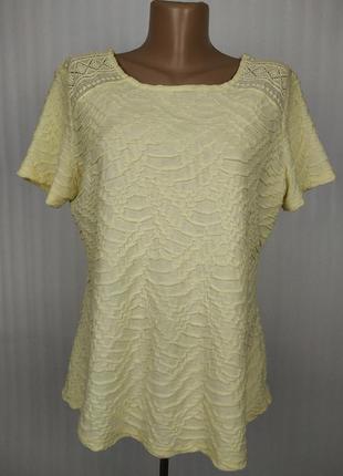 Блуза кофточка красивая желтая с кружевом marks&spencer uk 14/42/l