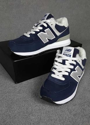 Зимние женские замшевые сине-белые  кроссовки на меху new balance 574 🆕нью баланс 574