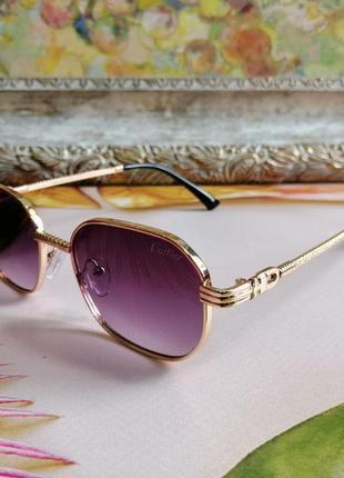 Эксклюзивные брендовые солнцезащитные женские очки в металлической оправе