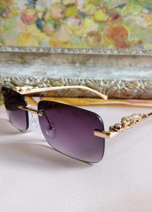 Эксклюзивные брендовые безоправные солнцезащитные женские очки с ягуарами на дужке
