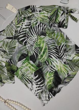 Блуза шифоновая новая в тропический принт papaya uk 14/42/l