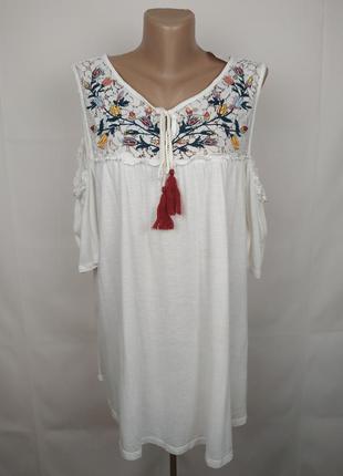 Блуза новая шикарная с кружевной кокеткой большого размера papaya uk 18/46/xxl