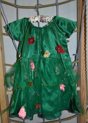 Красивое новогоднее платье елка елочка с заколкой