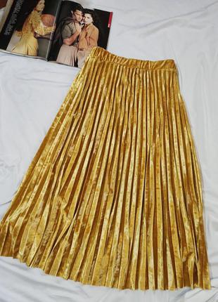Marks & spencer золотистая плиссированная трикотажная юбка  uk 20