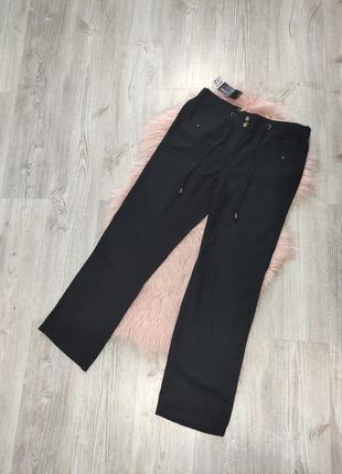 Льняные черные брюки штаны джоггеры на резинке