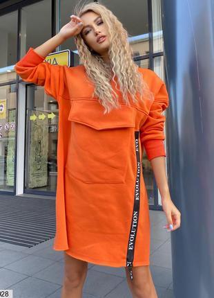 Стильное теплое платье на флисе