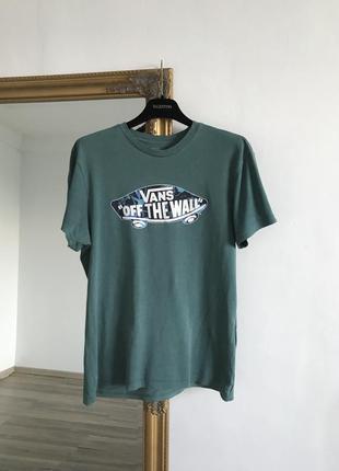 Зелёная хлопковая футболка vans custom u17