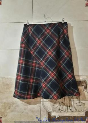 Фирменная basler теплая красочная юбка миди на 75% шерсть в клетку, размер хл
