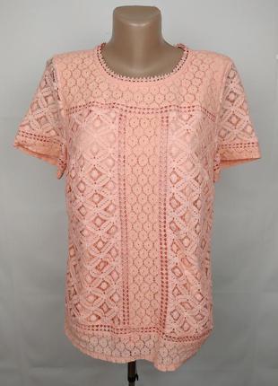 Блуза красивая кружевная персиковая oasis l