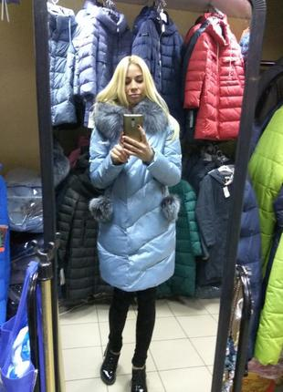 Красивая куртка, пуховик пальто chanevia с мехом чернобурки l, 46