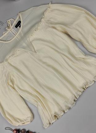 Блуза красивая шифоновая жёлтая плиссе topshop uk 10/38/s