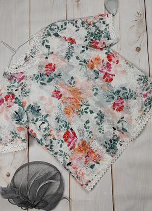 Блуза топ красивая кружево вышивка нежный цветочный принт marks&spencer uk 16/44/xl