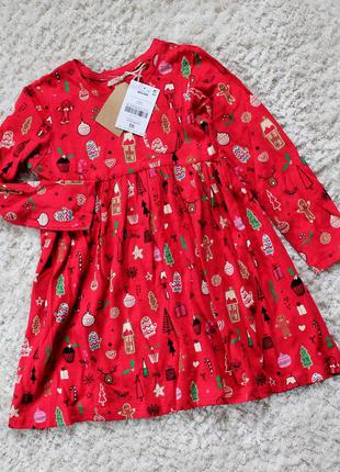 Красное платье next на 1,5-2 года (86-92см)