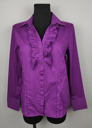 Блуза рубашка стрейчевая шикарная с рюшами papaya uk 14/42/l