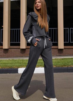 Серый прогулочный  костюм брюки + свитшот /спортивный костюм