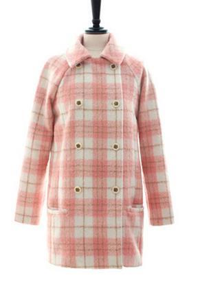 Шерстяное пальто в клеточку розовое шерсть мохер