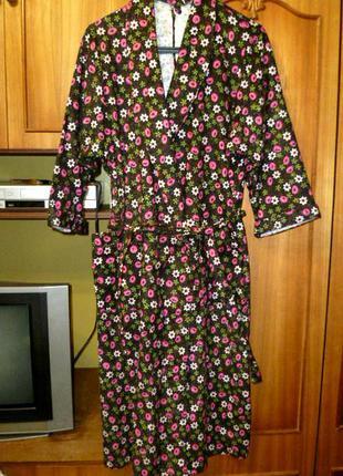 Новый винтажный байковый халат теплый с запахом,пог 56см