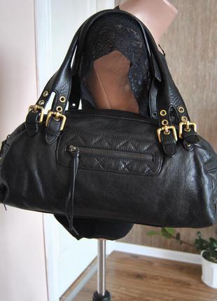 Кожаная сумка багет navyboot / шкіряна сумка