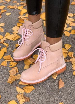 Женские ботинки timberland pink fur мех скидка sale | жіночі черевики зима знижка