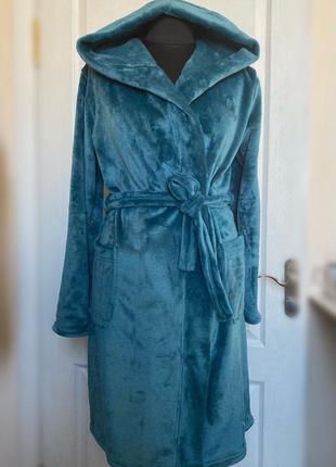 Женский теплый махровый халат с капишоном, удобный халат, халат для дому