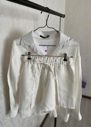Ідеальний костюм на море, біла сорочка шорти, белая рубашка и шорты на резинке