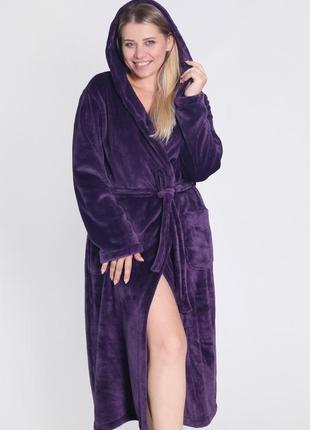 Женский теплый махровый халат длинный, халат с капишоном, халат для дому