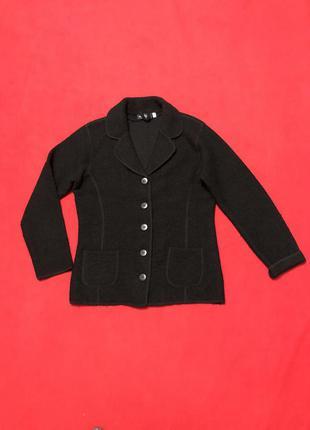 Пиджак чёрный  трикотажный шерстяной шерсть 100% р s