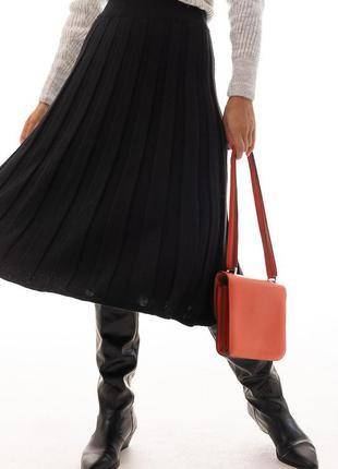 Черная юбка миди, юбка клеш , вязаная юбка