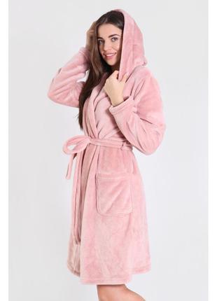 Женский теплый махровый халат с капишоном, удобный домашний халат, пудровый халат
