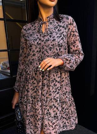 Ярусное платье шифоновое в цветочный принт