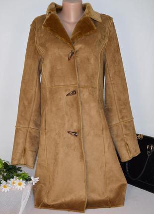 Брендовая дубленка с карманами the great coat company мех акрил этикетка