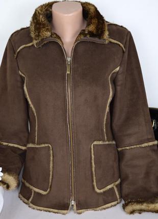 Брендовая коричневая дубленка куртка на меху с карманами per una акрил этикетка