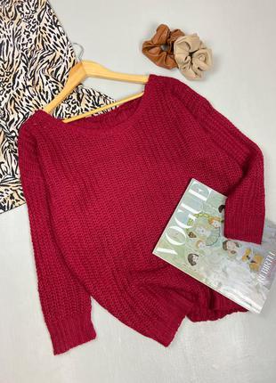 Вязаный бордовый свитер оверсайз с широким вырезом декольте