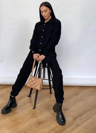 Стильный вельветовый костюм брюки + рубашка