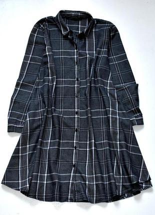 Zara стильное платье рубашка, туника в клетку.с-ка
