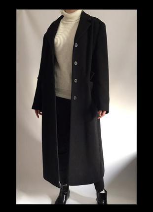 Тёплое кашемировое пальто длинное плащ