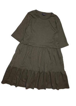 Класне плаття , тканина жатка , колір хакі як на 2/3фото розмір л хл  пог 56 см довжина 93 см  стан ідеaльний