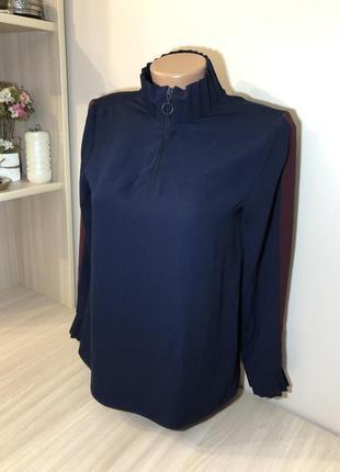 Zara xs блуза на блискавці з пампасами блузка прямого кроя