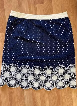 Шикарная коттоновая юбка boden с вышивкой, uk 16