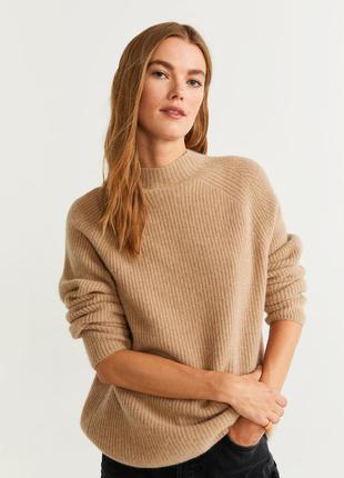Кашемир шерсть бежевый свитер текстурной вязки