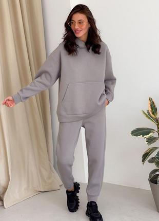 Серый теплый спортивный повседневный прогулочный костюм худи и джоггеры трехнить