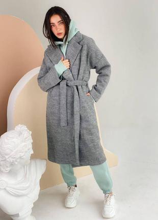 Пальто кашемировое серое демисезонное