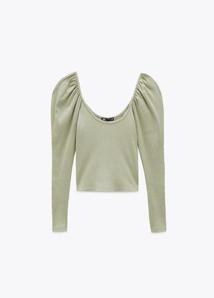 Блуза кофта трикотажная хлопковая в рубчик зеленая с объемными рукавами zara